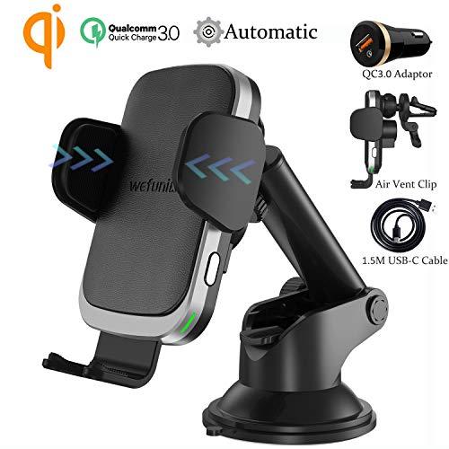 Wefunix 15W/10W/7.5W Qi Cargador Inalámbrico Coche Carga Rápida Sensor Automático para LG V50/G8, iPhone 12 11 Pro XS…