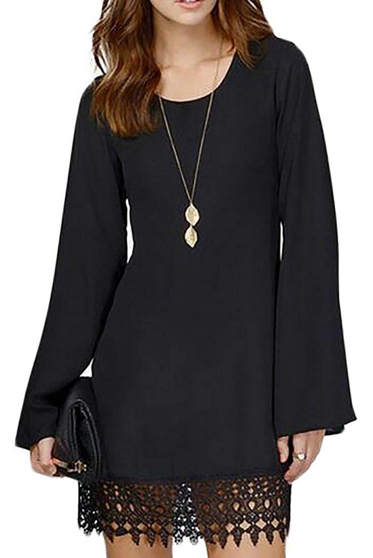 Noir US  -Petit MJY La mode des femmes 'S hommeches évasées solides élégante robe courte Splice ras du cou,blanc,Moyen