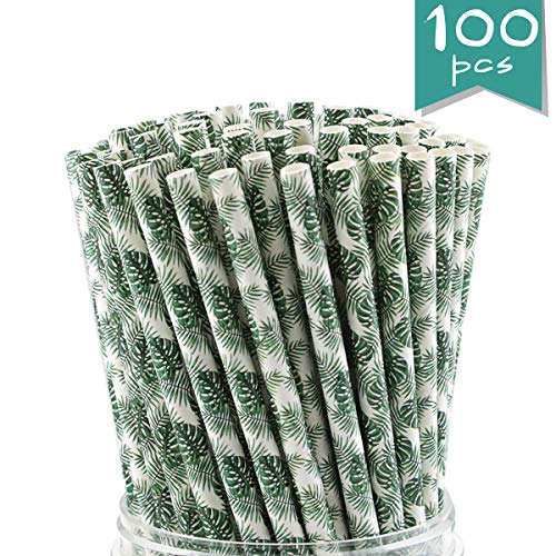 - WTSHOP 100-Pack Tropical leaves Paper Straws, Biodegradable Drinking Straw Bulk for Birthday Parties, Party Supplies, Wedding, Bridal/Baby Shower and Holiday Celebrations