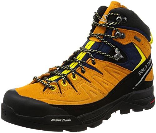 Salomon X Alpine Mid Leather GTX Boot - Men's Navy Blazer / Bright Marigold / Empire Yellow 9.5