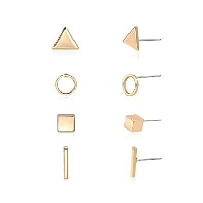 312089662 Zealmer Gold Geometric Earrings Simple Triangle Bar Square Circle Stud  Earring Set 4 Pairs for Girls
