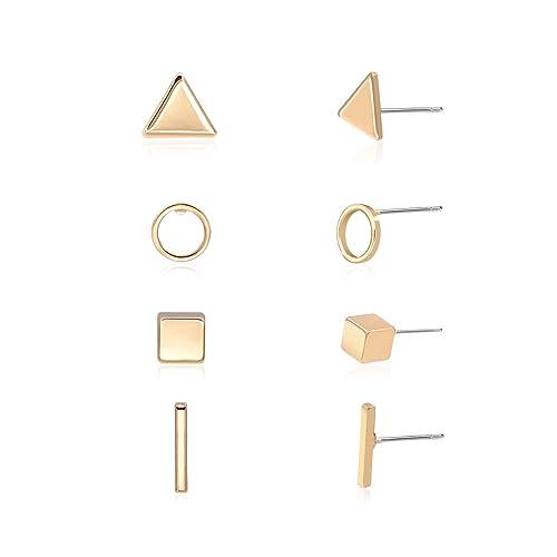 bef88565a7026 Zealmer Simple Geometric Stud Earrings Set Triangle Circle Cube and Bar  Earrings for Women Girls