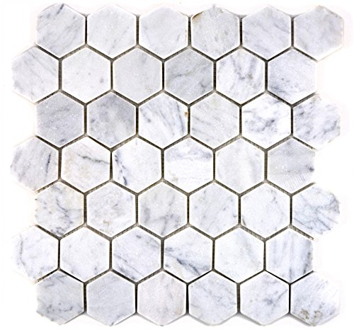 Mosaic Mirror Tile Marble Natural Stone Hexagon White Carrara Marble for Wall Bathroom Toilet Shower Kitchen Counter Trim Bath Panel Mosaic Mat Mosaic Tabletop Mosaik-Netzwerk