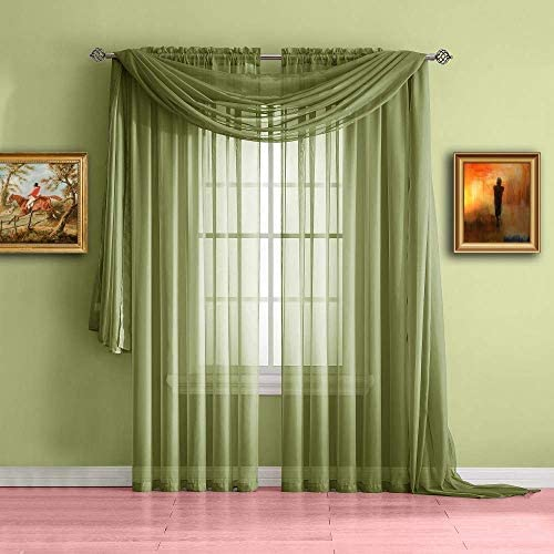"NK Linen Collections Window Sheer Curtains Scarf Valance Solid Colors Soft Sheer Voile Window Topper Swag Panel Curtain Scarf 37"" x 216"""