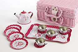 Delton Products Children's Tin Tea Set with Roses & Polka Dots