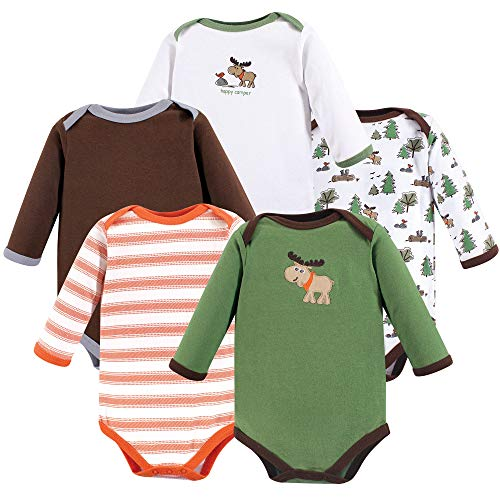 (Luvable Friends Long Sleeve Bodysuits, 5 Pack, Moose, 9-12)