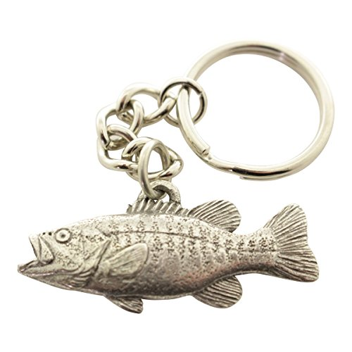 Sarah's Treats & Treasures Smallmouth Bass Keychain ~ Antiqued Pewter ~ - Bass Keychain