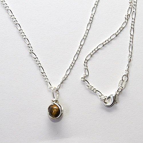 (Handmade Tiger Eye Bead Necklace - Semi Precious Jewelry - 16
