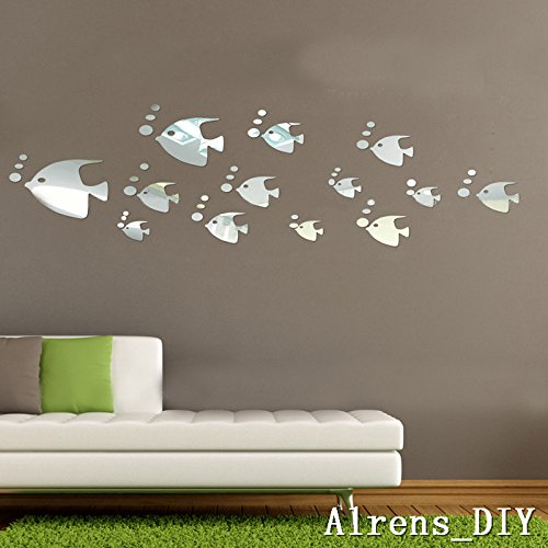 Alrens_DIY(TM)13 pcs Cute Fish+ 37pcs Small Bubbles Crystal DIY Mirror Effect Reflective 3D Wall Stickers Home Decoration Living Room Bedroom Bathroom Decor Mural Decal adesivo de parede Removable Kid's Room Design Art by Alrens
