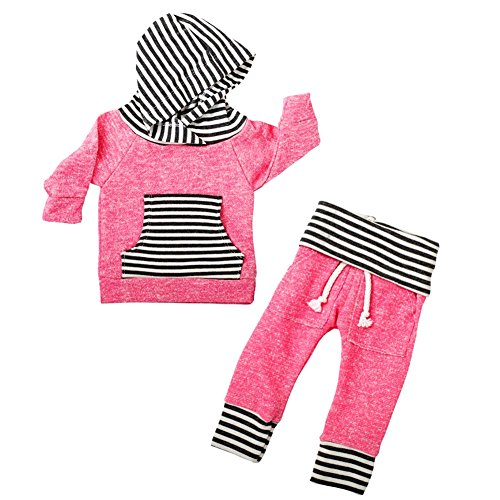 Rainbowlight Newborn Baby Boy Girl Warm Striped Hoodie T-shirt Pants Outfit Set Kids Clothes (18-24M, Pink)