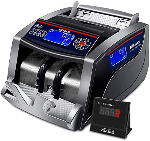 Money Counter with Counterfeit Bill Detection UV/IR/DD/MG/MT, 3 Displays, 5 Modes Add/Batch/Auto/Count/Restart, Bill Counter 1,000 Notes according to Minute - (NOT Count Value of Bills)