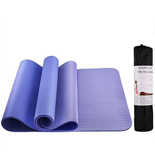 Youly Non Slip Yoga Mat with Carrying Bag High Density TPE Eco-Friendly Workout Mat Fitness Mat for Home Gym –Purple 72