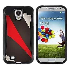 LASTONE PHONE CASE / Suave Silicona Caso Carcasa de Caucho Funda para Samsung Galaxy S4 I9500 / Khaki Beige Red