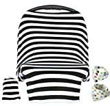 Baby Car Seat Cover ,Nursing Cover,Car seat Canopy Covers Multi-Use Infant Car seat Canopy Covers Shopping Cart High Chair Stroller- Best Multi-Use Infinity Stretchy Shawl (Black/White Stripe)