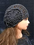 Hand Crocheted Knitted Beret Hat Beanie With Big Flower For Spring Summer Fall Christmas Gift (Grey)