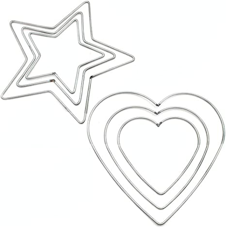 Amazon Com Funpa 6pcs Metal Hoop Diy Creative Heart Star Shape Macrame For Hanging Decor Home Kitchen