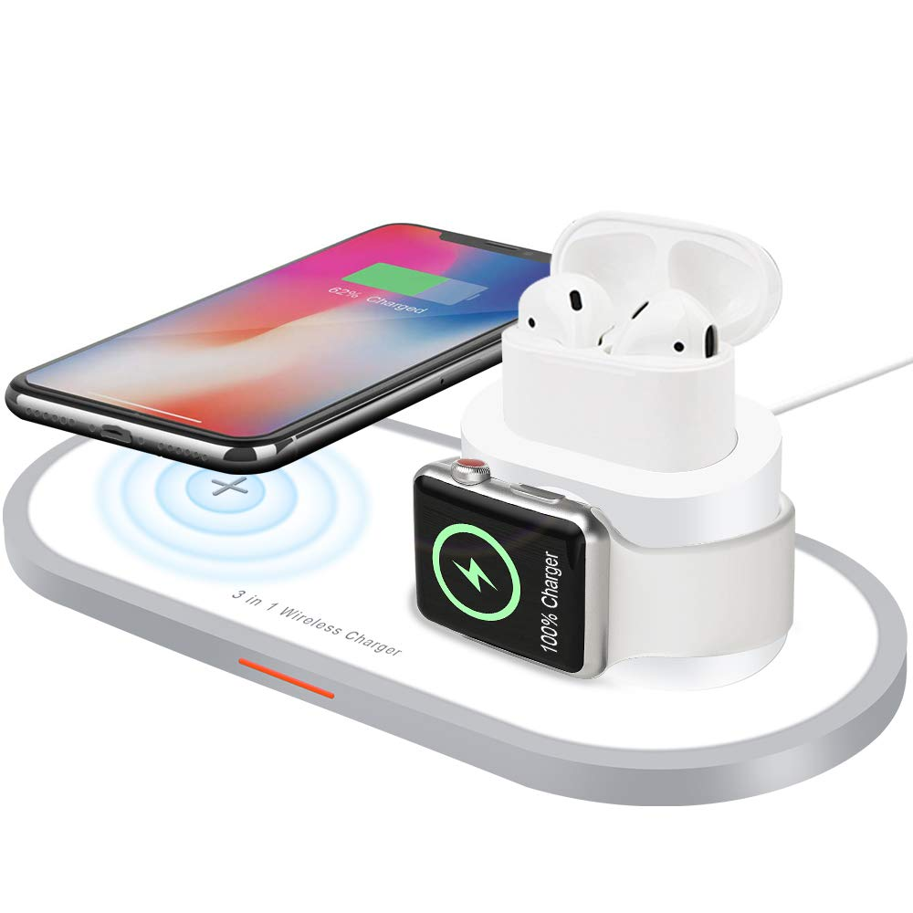 Wireless Charger, AUDON 3 in 1 Wireless Charging Pad for iPhone Apple Watch iWatch Series 4/3/2/1& AirPods, Qi Fast Wireless Charging Station Pad for iPhone Xs Max/Xs/Xr/X/8/8 Plus (White)
