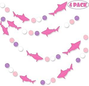 Shark Banner, Shark Garland, Ocean Animals/Baby Shark/Under The Sea/Summer Beach Bach/Swimming Pool/Hawaii Luau/Shark Doo Doo Theme Baby Shower Birthday Party Supplies Decorations Photo Prop (Rose)
