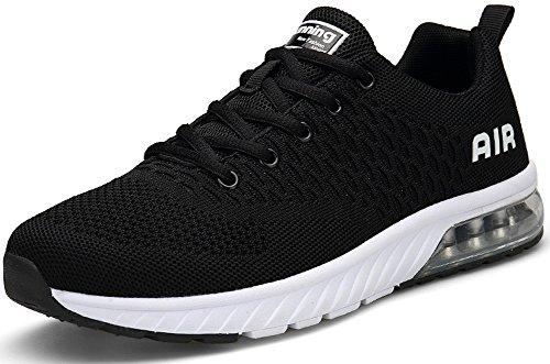 SEECEE Unisex Sportschuhe Air Dämpfung Laufschuhe Turnschuhe Sneaker 36-45 EU mit 5 Farben Schwarz Weiß