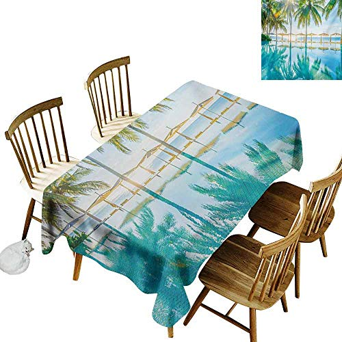 (Mannwarehouse Landscape Wrinkle Resistant Tablecloth Pool by The Beach with Seasonal Eden Hot Sunny Humid Coastal Bay Photography Excellent Durability W54 x L72 Green)