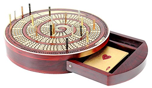 (House of Cribbage - Cribbage Board Spiral Design Round Shape 4 Tracks Bloodwood/Maple with Place for Skunks, Corners & Won Games)