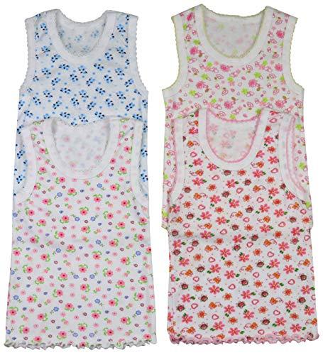 Baby Undershirt Cotton (ToBeInStyle Girls' 4 Pack Ruffle Hem Tank Tops - Floral - Size 1)
