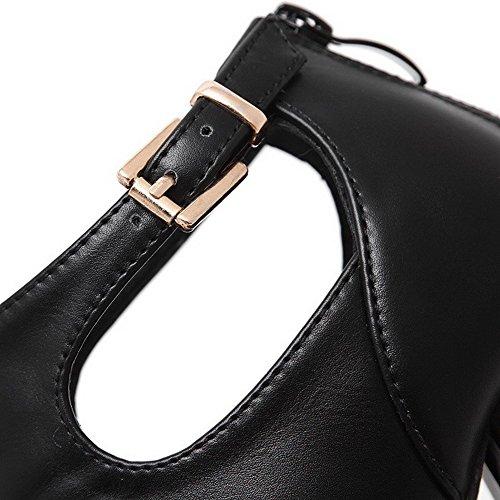 AllhqFashion Women's High-Heels Peep Toe Zipper PU Solid Sandals Black 5Z7vO2