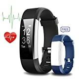 Fitness Tracker - IYUTtech Waterproof Sport Smart Band Pedometer Activity Tracker Heart Rate Monitor Bluetooth for IOS & Android Phone with Blue Replacement Band - Black