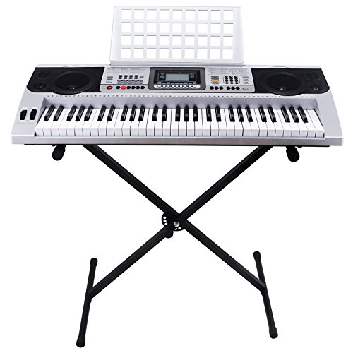 Silver 61 key music digital electronic keyboard electric piano organ with - Singapore Ms Store