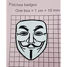 """V For Vendetta Anonymous Guy Fawkes Mask Iron On Emroidered PatchApprox: 3.2""""8.3cm x Approx: 2.5""""/6.5cm By MNC Shop"""