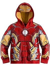 Little Boy Outerwear Coats Super Hero Avengers Iron Man Hooded Jacket 3t-8t Red