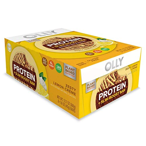 OLLY Plant-Based Protein Bar, Zesty Lemon Creme, 1.6 Ounce Bars (Pack of 8) 12 g Protein Non-GMO A Well Rounded Snack for Your Healthy Lifestyle