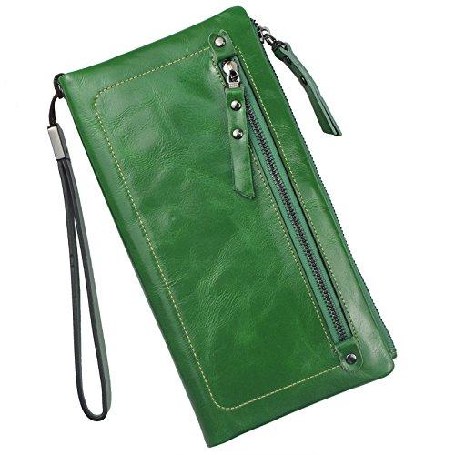 Bveyzi Women's Large Capacity Soft Leather Wristlet Wallet Checkbook Passport Holder (Green) -