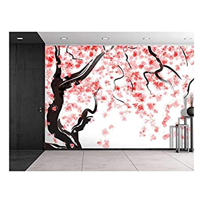 Large Wall Mural - Japanese Cherry Tree Blossom in Watercolor Painting Style | Self-Adhesive Vinyl Wallpaper/Removable Modern Decorating Wall Art - 66