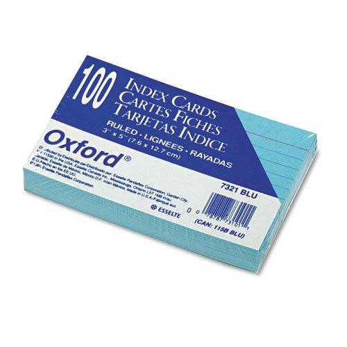 Oxford - Ruled Index Cards, 3 x 5, Blue, 100/Pack 7321-BLU (DMi PK