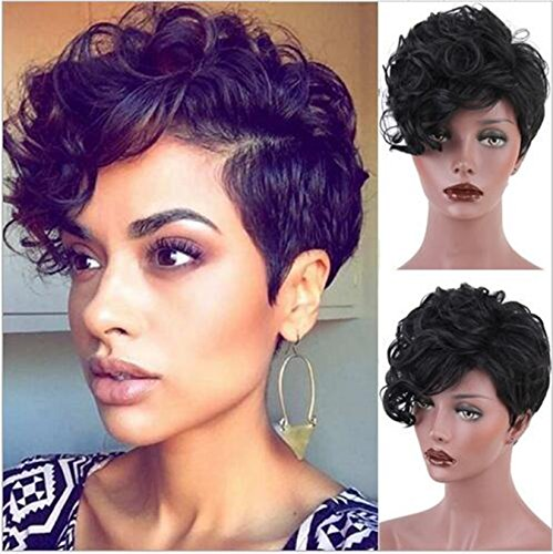Womens Bobo Style Short Curly Wavy Daily Synthetic Cosplay Costum Party Wigs