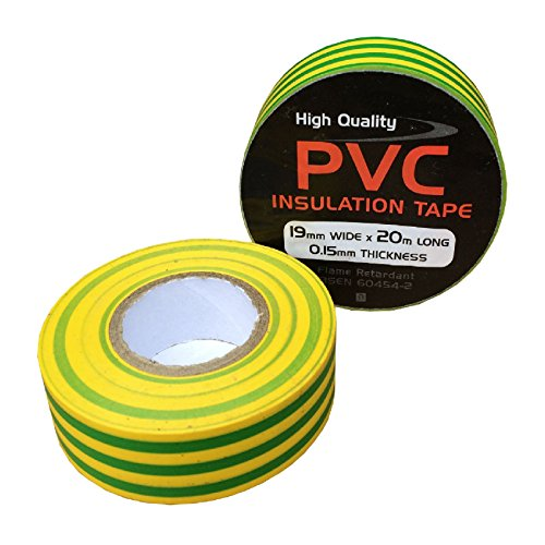 (2 x Yellow / Green Electrical PVC Insulation Tape 19mm x 20 Metres, Flame)