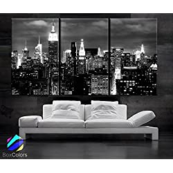 "Beautiful New York City Skyline Black & White Wall Home (Included Framed 1.5"" Depth)"