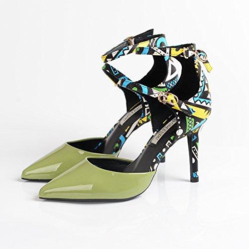 Unique Nouveaux Talons Avec Pointus Chaussures Sexy Green Khskx les Mot De Un Des Couleur qwEn5X50x