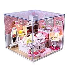 DIY Wooden Dolls house Miniature Kit w/ Light -Bedroom