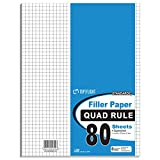 80 Count Quad Ruled Filler Paper - 11'' x 8.5'' (Case of 12)