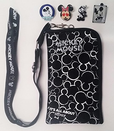 Disney Mickey Mouse trading pin Lanyard with Detachable Coin Purse and 4 random disney parks trading pins