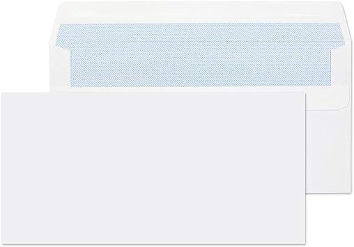 100 x 80gsm DL 110x220 Self Seal Envelopes White letter size