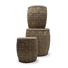 Tag 340033 Seagrass Storage Ottomans, Coffee, Set of 3
