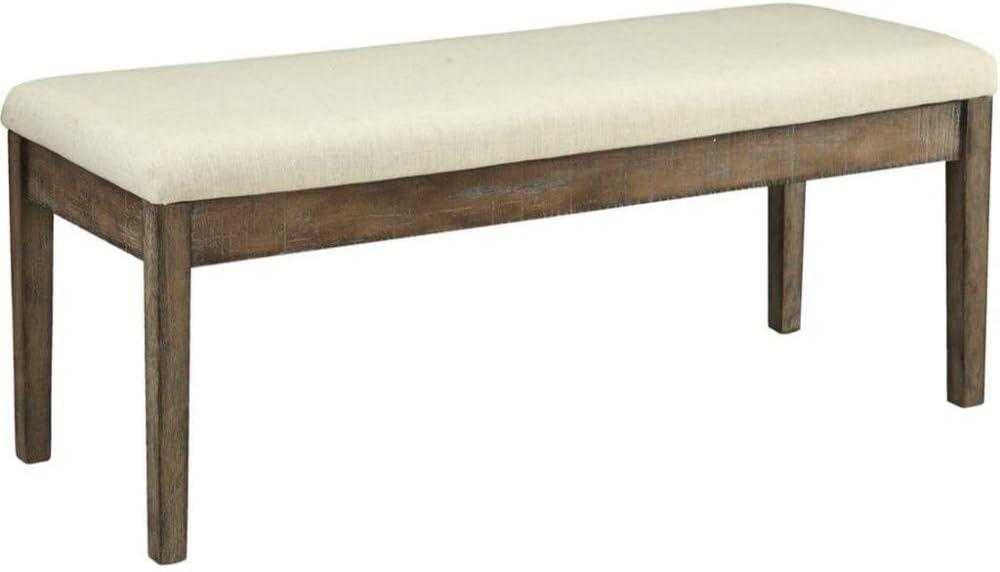 Ivory and Brown, Benjara Benzara Wooden Bench Fabric Padded Seat