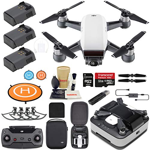 (DJI Spark Drone Quadcopter (Alpine White) Elite Bundle with Remote Controller, Portable Charging Station, 3 Batteries, Charging Station Bag and Must Have Accessories)
