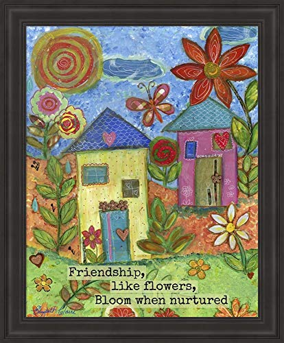Friendship Like Flowers by Elizabeth Claire Fine Art Print with Wood Box Frame and Glass Cover, 19 x 23 inches