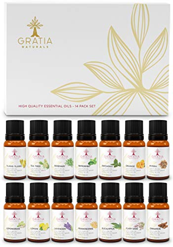 Therapeutic Grade Essential Oil Set-The Healthy Lifestyle & Cleaning Collection-14 Pure, Potent 100% Natural Oils Promote Optimal Health, Purification & Emotional Wellbeing - Lifestyle Essential Oils