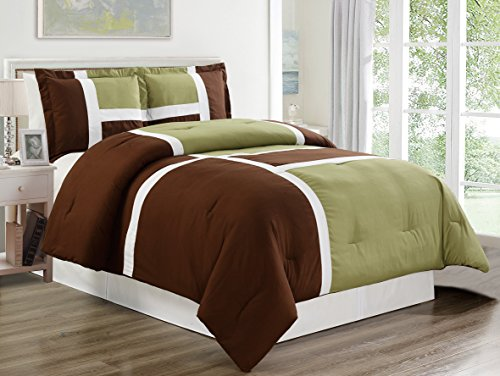 3 piece SAGE GREEN / BROWN / WHITE Goose Down Alternative Color Panel Oversize Comforter Set , KING size Microfiber bedding, Includes 1 Oversize Comforter and 2 Shams