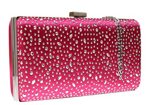 Rosa Handbags nbsp;nueva Con Girly Satin nbsp;– Neceser Bolso Inoxidable Party Caja Gota Luxury AOwwCx